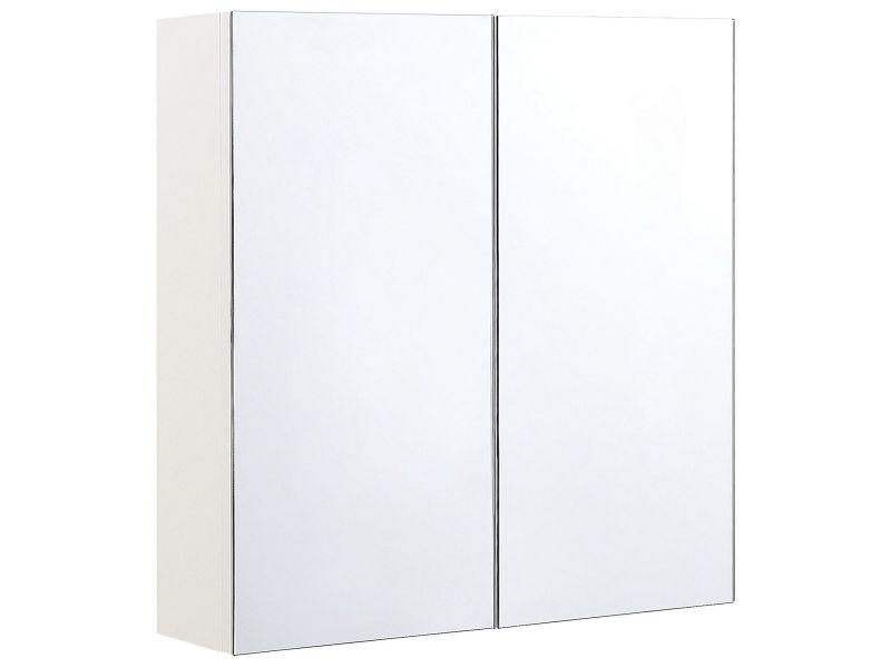 Armoire de toilette blanche avec miroir 60 x 60 cm navarra 293112