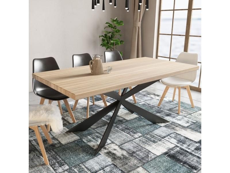 Rosenn - table à manger en bois et métal pieds design 6 personnes