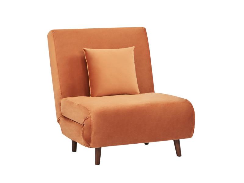 Adron - fauteuil convertible lit 1 place en velours - couleur - cannelle LAH-179N16-P76-CR-15