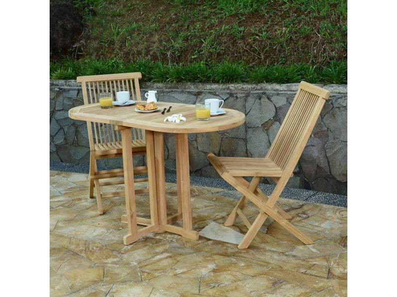 Table de jardin en teck pliable 120 x 60 cm - manoï Teck ...