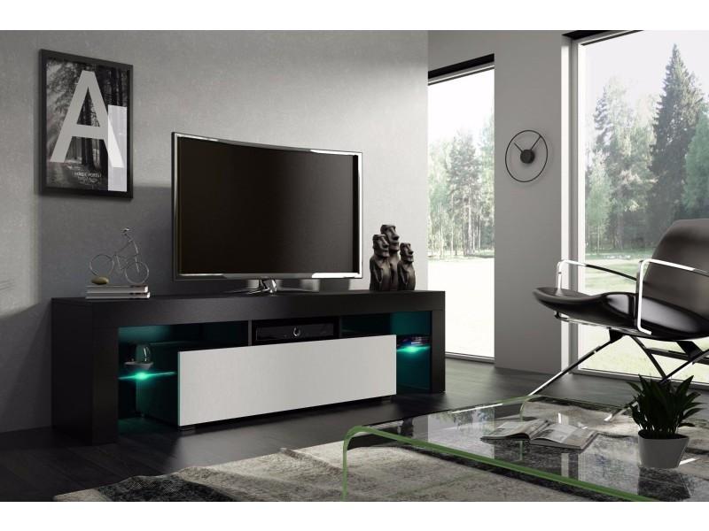 Meuble tv 160 cm noir et blanc mat avec led rgb