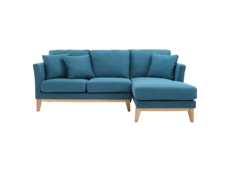 Canapé d'angle droit scandinave bleu canard déhoussable ...
