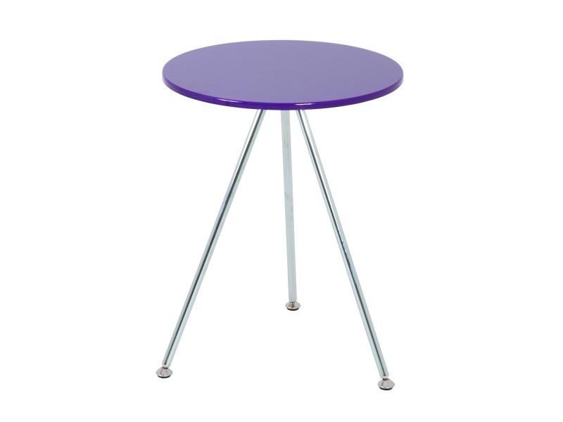 Contemporain nuancemeuble table d'appoint belgrade chromé-mûre h52 ø40 cm