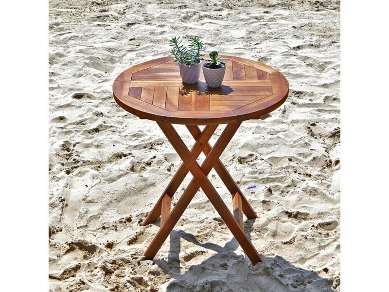 Table de jardin en bois de teck ronde pliante - Vente de Salon ...