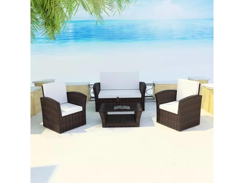 Magnifique meubles de jardin selection kaboul ensemble de canapés de jardin 10 pièces rotin synthétique marron