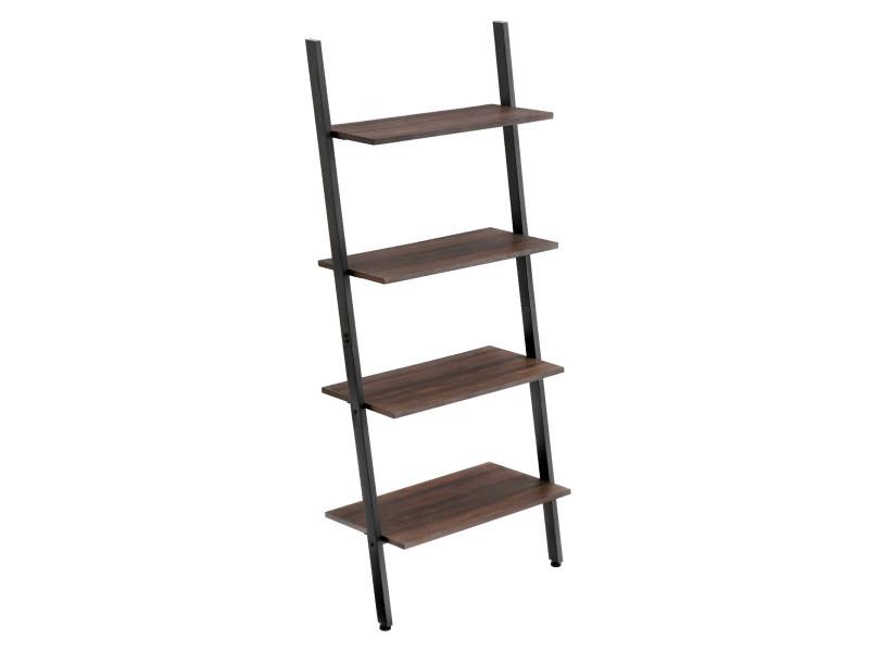 Étagère échelle de style industriel, meuble de rangement à 4 niveaux, bibliothèque, étagère inclinée brun foncé lls43bf vasagle Armature en fer, Stable