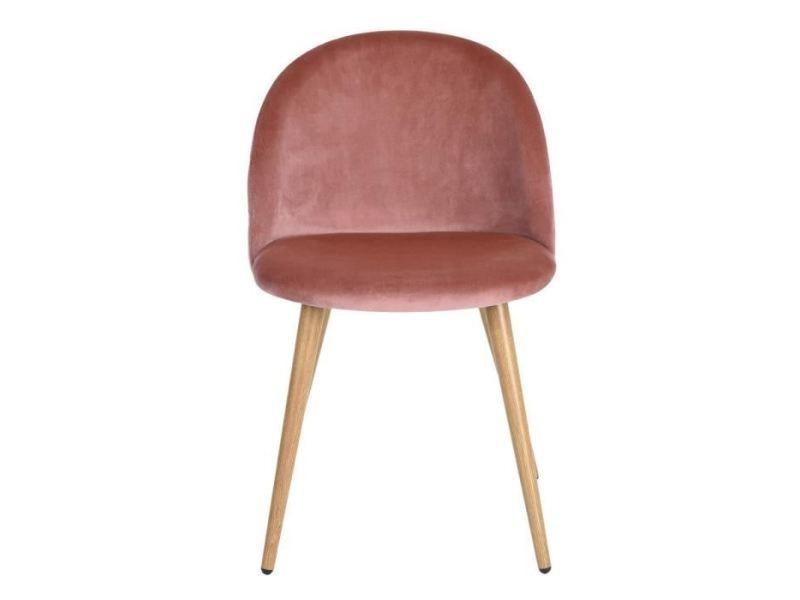 pieds chaises décor velours rose 2 en Chaise lot zomba de mwONnyv80