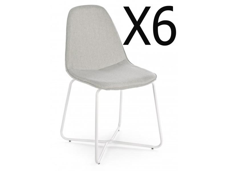Lot de 6 chaises coloris gris en métal - dim : l 44 x p 48 x h 87 cm -pegane-