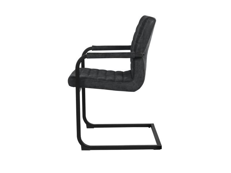 [en.casa] 2x chaise de design rembourré noir cuir d'alcantara-imité cuisine