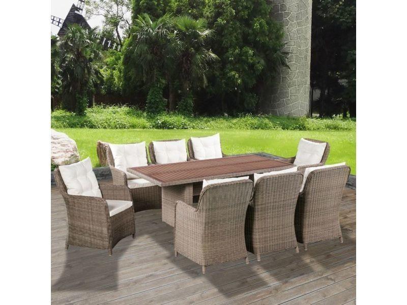Vidaxl mobilier de jardin 25 pcs bois d\'acacia et résine ...