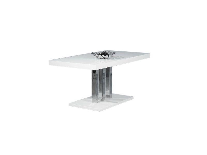 Table à manger design blanc laqué oriane