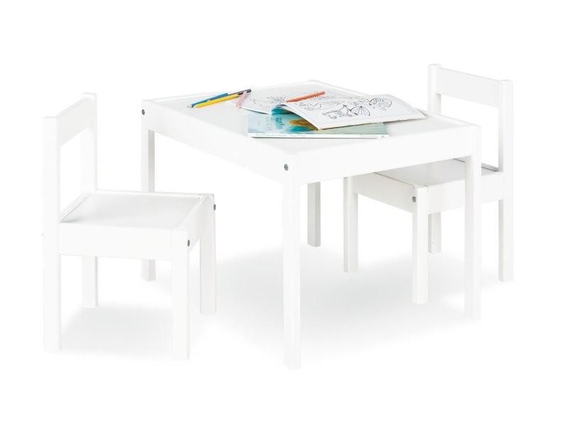 bois Table pour pin laqué chaises de avec deux enfant en y8nN0wOvm