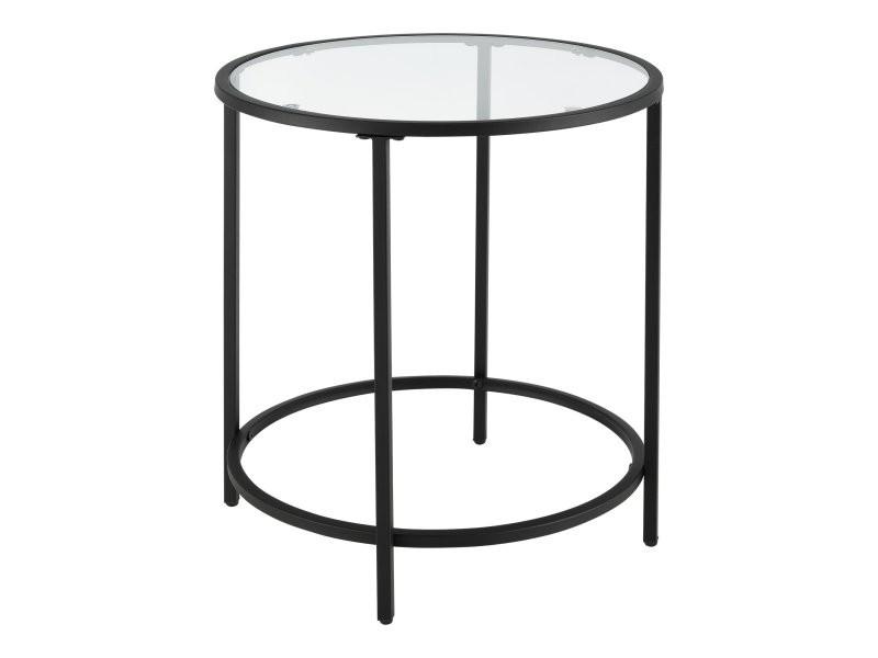 Table basse d'appoint pour salon ronde bouts de canapé plateau en verre pieds en acier 55 cm noir helloshop26 03_0006186