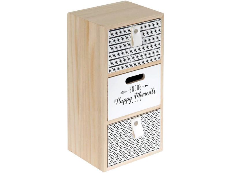 Petite armoire de rangement façon commode enjoy your moments 3 tiroirs bois - Conforama