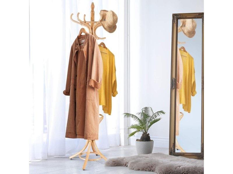 Costway porte-manteau sur pied au style industriel, 12 crochets en bois massif, support manteau/parapluie/chapeau, 51 x 51 x 184cm (couleur chêne)