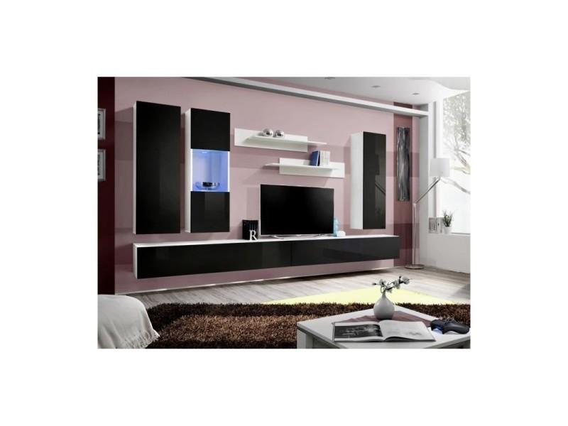 Meuble tv fly e5 design, coloris blanc et noir brillant. Meuble pour ...