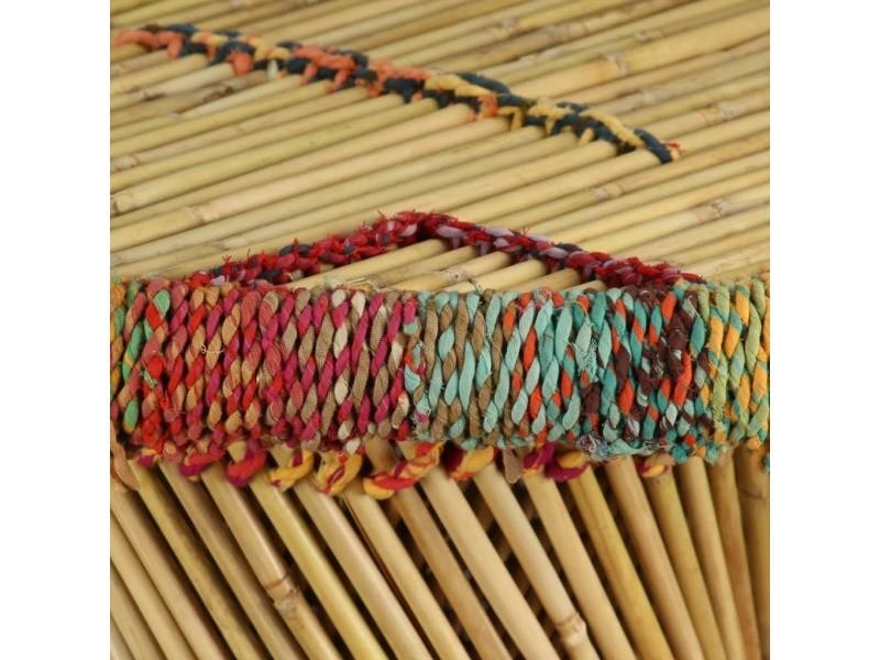 Icaverne - tables basses gamme table basse bambou avec détails chindi multicolore