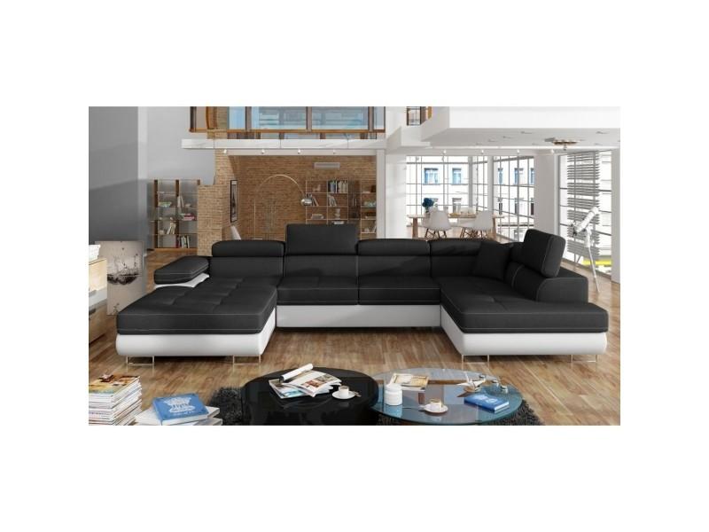 Alicia - canapé panoramique convertible en tissu noir et simili blanc coffre de rangement - angle gauche