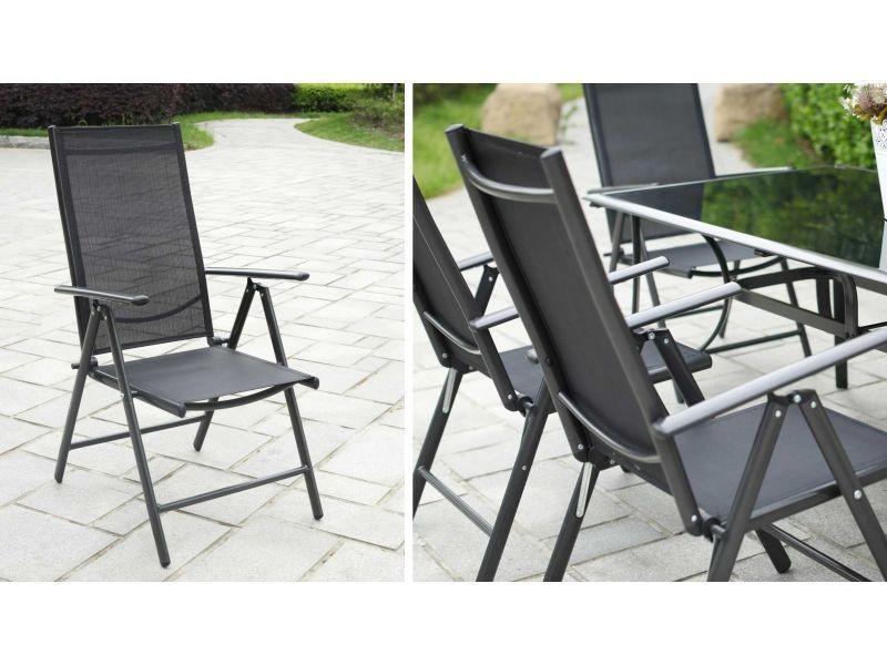 Lot de 4 fauteuils de jardin pliant multipositions - Vente ...