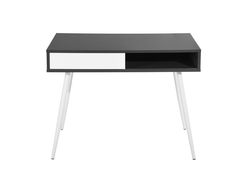 Bureau à tiroir coulissant design noir et blanc vente de calicosy
