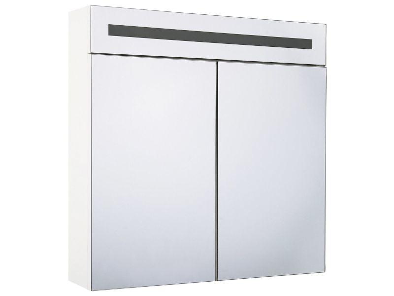 Armoire de toilette blanche avec miroir led 60 x 60 cm jaramillo 236787