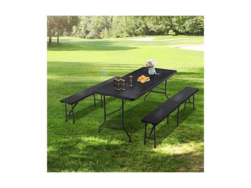 Songmics table pliable 180 cm table de jardin stable ...