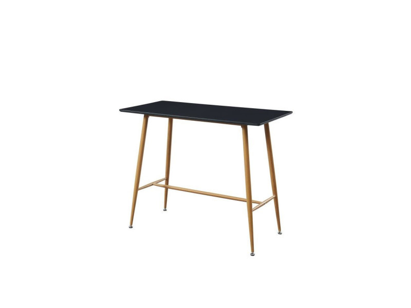 Alina table bar scandinave - noir laqué satiné - l 120 x l 60 cm