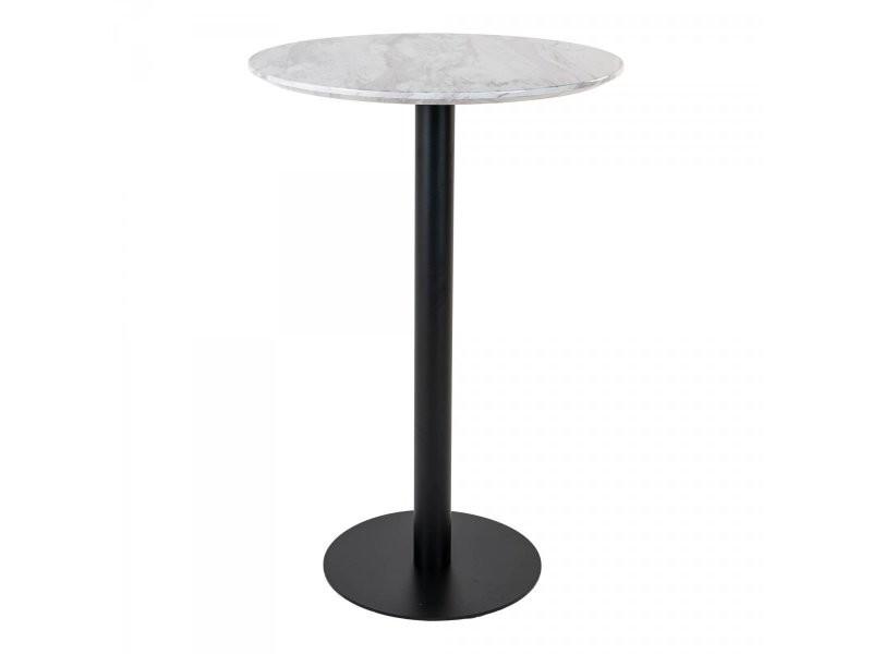Table haute ronde effet marbre pied métal sienna 2301003