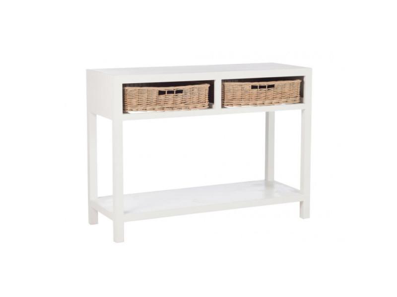 Console bois blanc 2 tiroirs osier 82474
