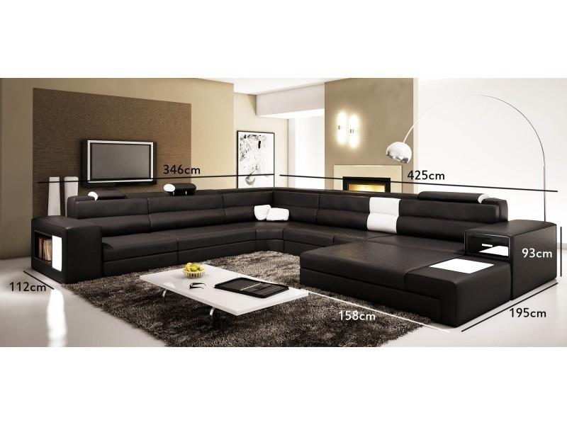 prix compétitif 24826 a9757 Canapé panoramique noir et blanc angle droit venise- - Vente ...