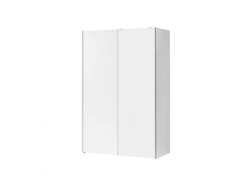 Armoire 2 portes coulissantes 2 tablettes bois blanc - marso