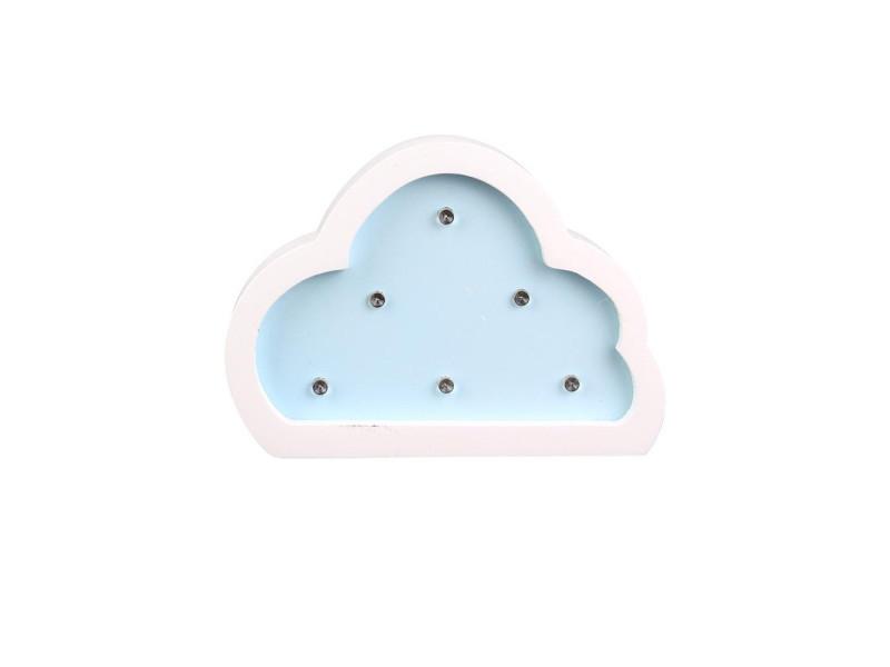 Veilleuse en forme de nuage - bois - bleu