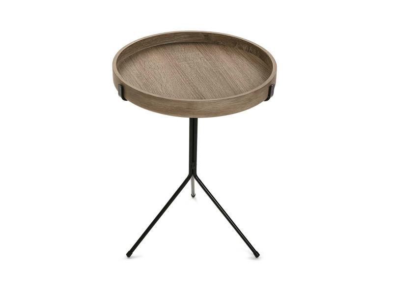 Table d'appoint aspect bois et métal - l 40 x l 40 x h 50 cm -pegane-