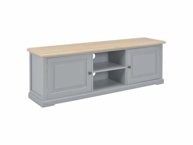 Meuble télé buffet tv télévision design pratique gris 120 cm bois helloshop26 2502191/2