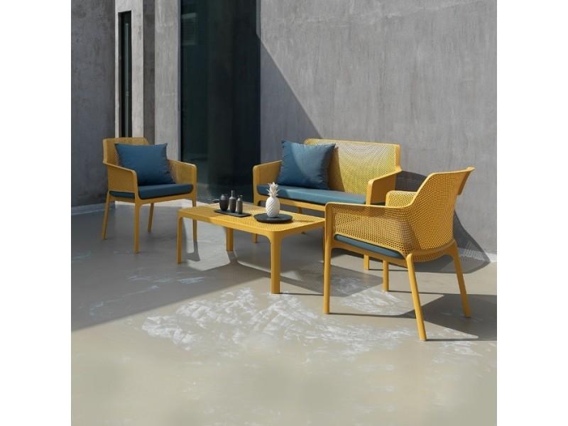 Salon de jardin polypropylène design 100x60 net jaune par nardi ...