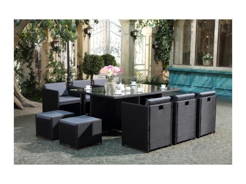 Magnifique salon de jardin florida 10 noir/gris : salon encastrable ...