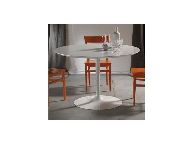 Table à manger ronde blanche design emilio - Vente de ...