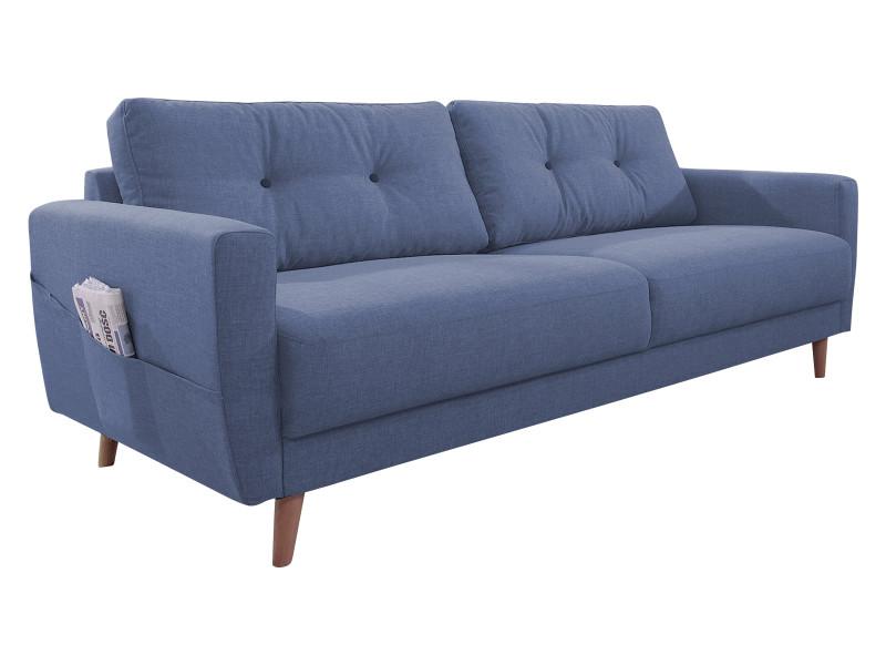 Canapé droit fixe scandi bleu