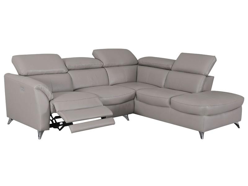 Canapé d'angle droit en cuir aston - taupe - droit - taupe