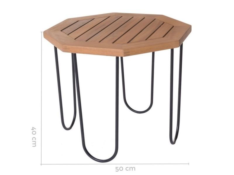 Table de salon de jardin octogonale 50cm en bois d\'acacia et ...