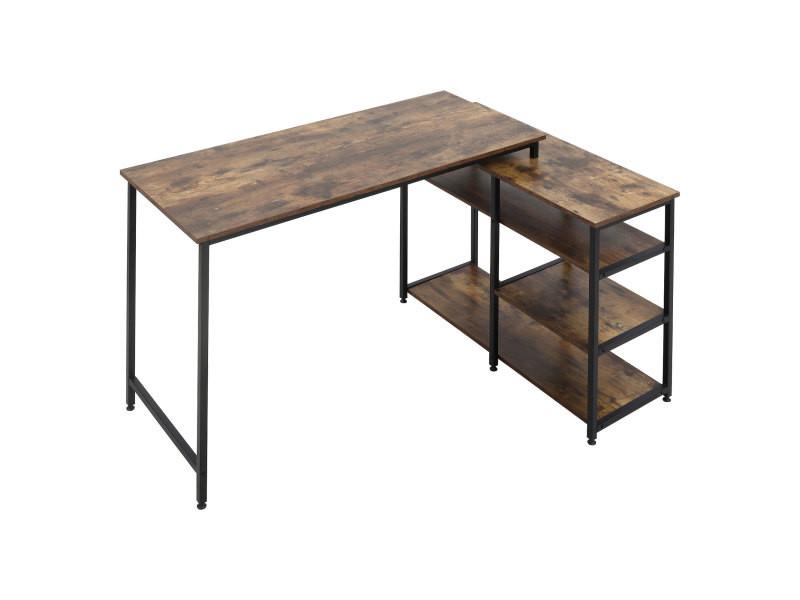 Bureau informatique design industriel bureau d'angle 3 étagères aspect vieux bois métal noir