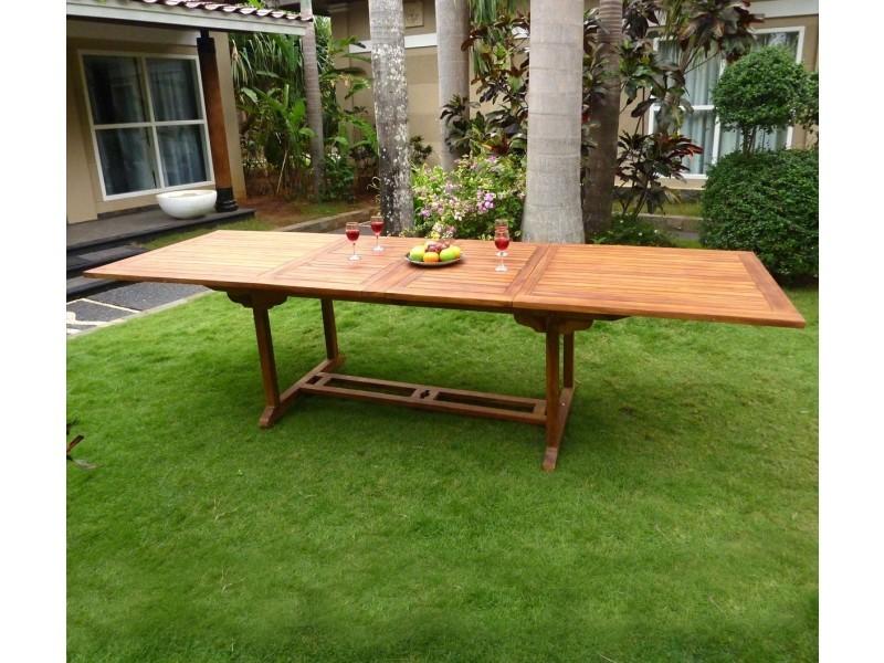 Table de jardin xxl en teck huilé - double rallonge papillon ...