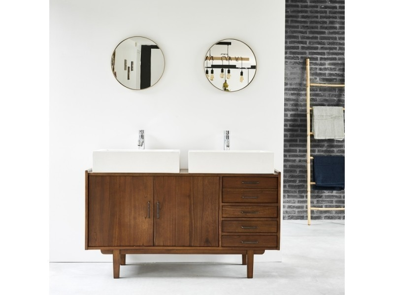 Meuble de salle de bain en bois de mindy vintage 135 cm ...