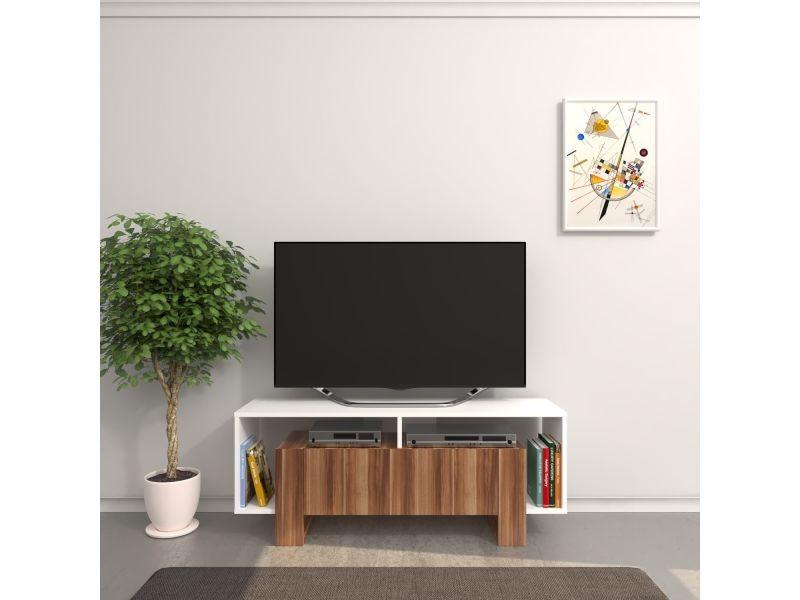 Meuble tv design melville - l. 120 x h. 47 cm - marron