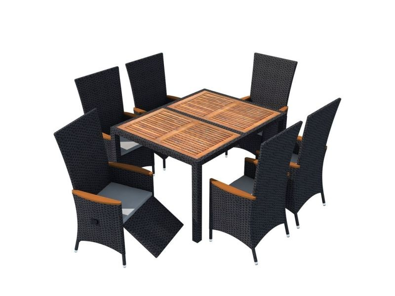 Vidaxl mobilier de jardin 13 pcs noir bois d\'acacia résine tressée xxl ...