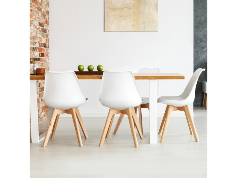 Chaises X4 Sara Blanches Pour Salle A Manger Design Scandinave