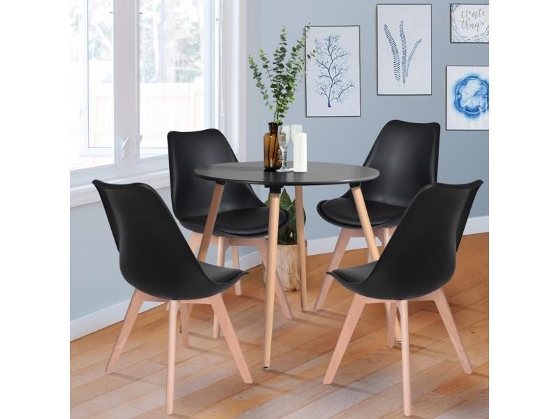 Table Ronde Et Chaises.Ensemble Table A Manger Ronde Et 4 Chaises Scandinave Bois