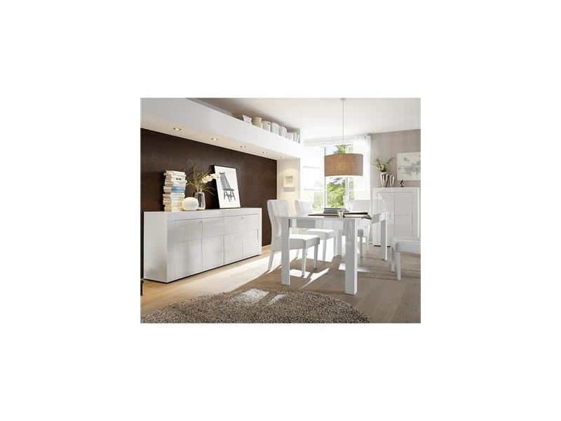Salle à manger complète blanc laqué brillant newland - Vente ...