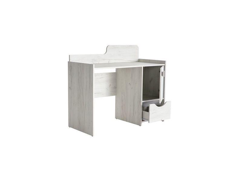 et frêne Bureau design gris tom blanc avec rangements clFJK1