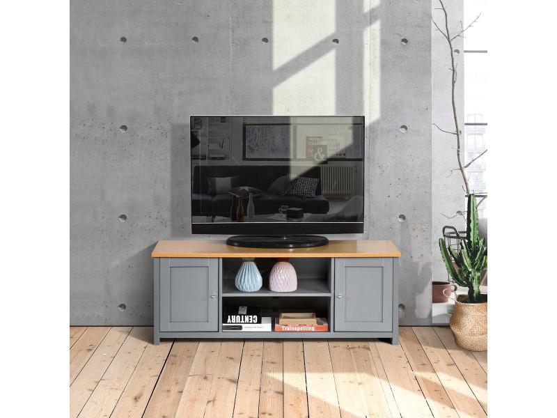 Meuble tv caisson mdf bois casier 2 portes gris